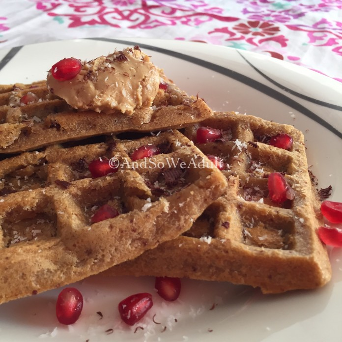 Orange-Chocolate Waffles with nut butter and pom pearls